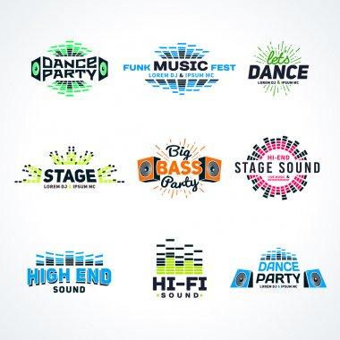 Sixth set music equalizer emblem vector on light background. Modern colorful logo collection. Sound system illustration