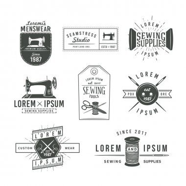 Set of vintage tailor labels, emblems and design elements. Tailor shop logo vector. sewing stodio illustration