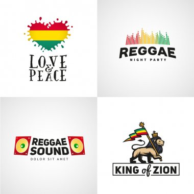 Set of reggae music vector design. Love and peace concept. Judah lion with a rastafari flag. King Zion logo illustration.