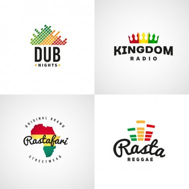 Set of african rastafari sound vector logo designs. Jamaica reggae music template. Colorful dub concept