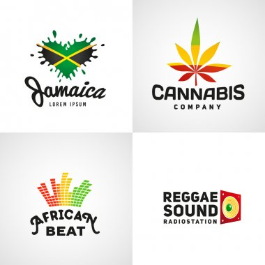 Set of african rasta beat vector logo designs. Jamaica reggae music template. Colorful cannabis company concept