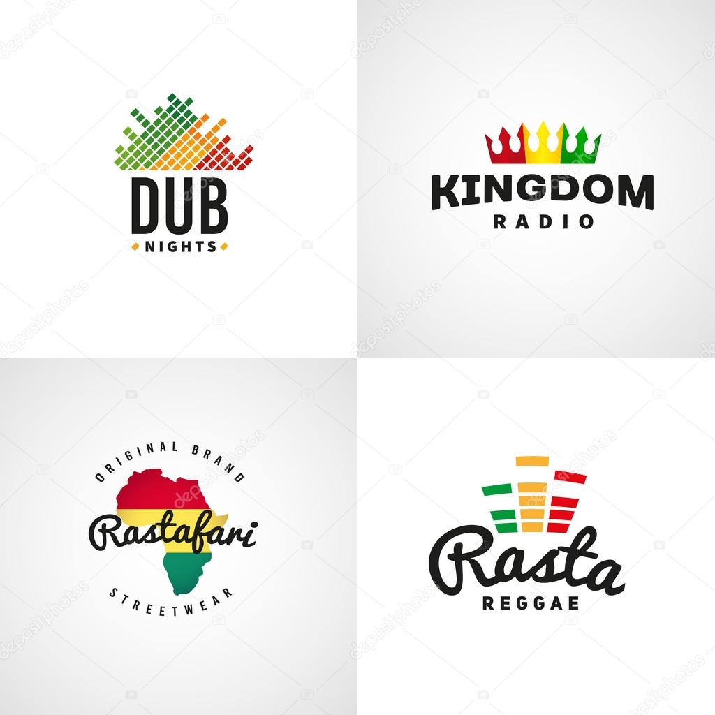 set of african rastafari sound vector logo designs jamaica reggae