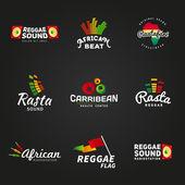 Fotografie Set von afrikanischen Rastafari Sound Vektor-Logo-Designs. Jamaika Reggae-Musik-Vorlage. Bunte dub Konzept auf dunklem Hintergrund