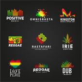 Fotografie Set positive Afrika ephiopia Flagge Logo-Design. Jamaika Reggae Tanzmusik-Vektor-Vorlage. Bunte Lautsprecher Unternehmen Konzept auf dunklem Hintergrund