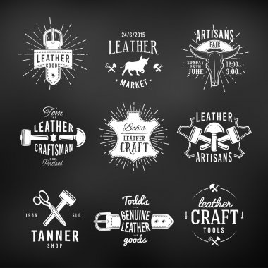 Set of leather craft logo designs, retro genuine vintage tool labels. artisans market insignia vector illustration on dark background