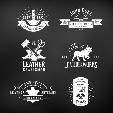 Set of vintage craft logo designs, retro genuine leather tool labels. artisans market insignia vector illustration on dark background