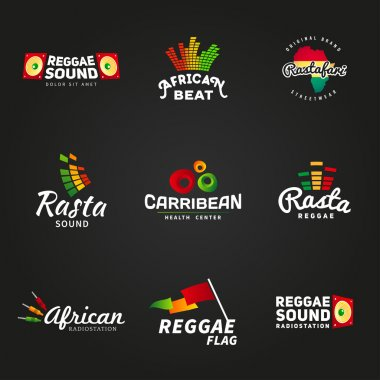 Set of african rastafari sound vector logo designs. Jamaica reggae music template. Colorful dub concept on dark background