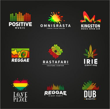 Set of positive africa ephiopia flag logo design. Jamaica reggae dance music vector template. Colorful speaker company concept on dark background