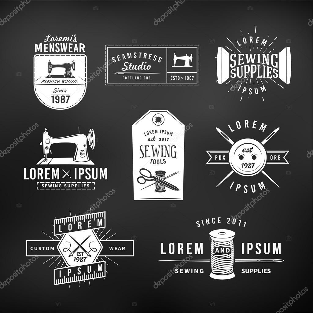 Set of vintage tailor labels, emblems and design elements. Tailor shop logo vector. sewing studio illustration