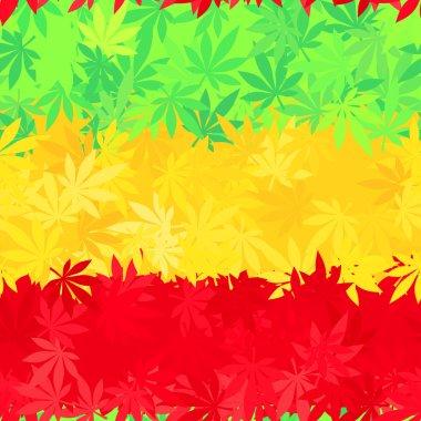 Ethiopia flag seamless pattern. Jamaica reggae music vector. Colorful africa theme design. Positive cannabis leaves background.