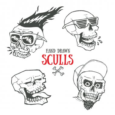 Hand drawn funky style sculls set. Jolly Roger scull vintage t-shirt print. Monochrome retro biker vector illustration