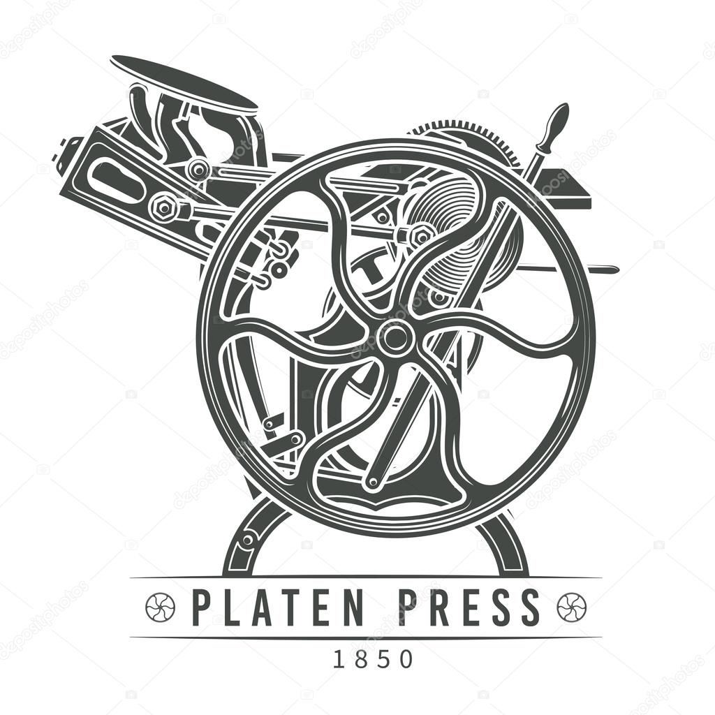 Platen press vector illustration. Old letterpress logo design. Vintage printing machine