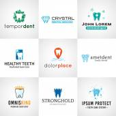 Fotografie Set of tooth logos.  Oral care symbols collection. Vector teeth designs. Bright dental clinic template. Creative health concept.