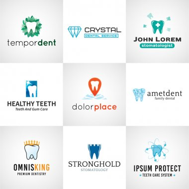 Set of tooth logos.  Oral care symbols collection. Vector teeth designs. Bright dental clinic template. Creative health concept.