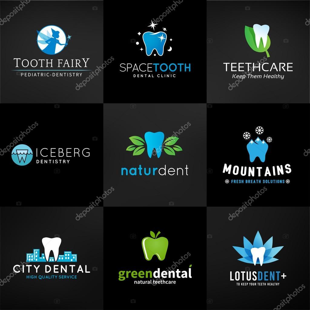 Satz von dental-Logos. Vektor-Zahn-Entwürfe. Zähne-Klinik-Vorlage ...