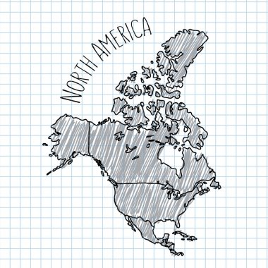 Pencil hand drawn North America map vector on paper illustration