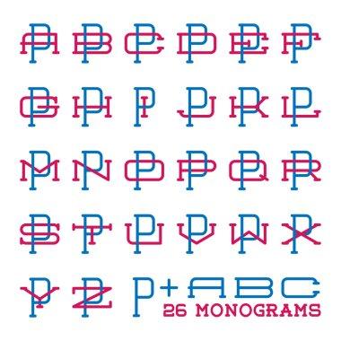 College sport team logo set. Two letters monogram template. Personal identity design. Wedding names vector illustration.