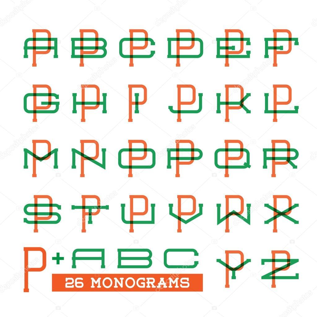 college sport team logo set two overprint letters monogram template
