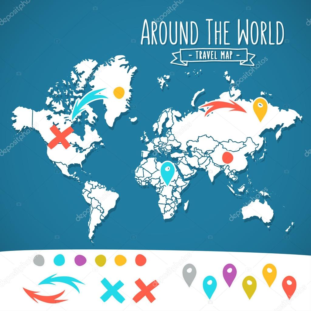 Hand drawn world map with pins and arrows vector design cartoon hand drawn world map with pins and arrows vector design cartoon style atlas illustration travel around the world poster vector by gromovpro gumiabroncs Images