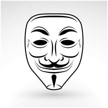 Anonymous mask vector icon. Hacker logo design. Criminal masquerade design background. Beard Jester illustration.