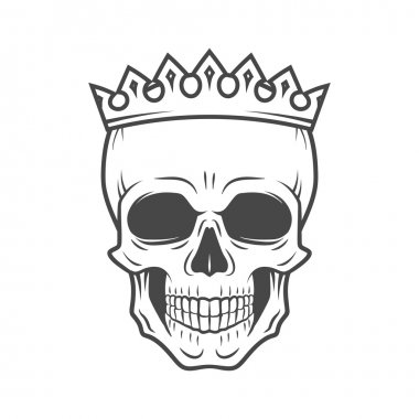 Skull King Crown design element. Vintage Royal illustration in medieval style. Dark Kingdom insignia concept.