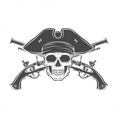 Evil captain skull in cocked hat vector. Jolly Roger logo template. death t-shirt design. Musket insignia concept.