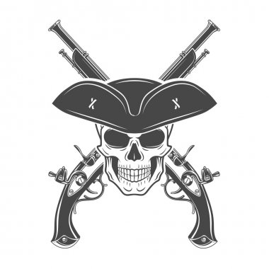 Evil captain skull in cocked hat vector template. Jolly Roger logo template. death crest design. Pistol icon concept.