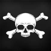menschlicher böser Totenkopfvektor auf schwarzem Hintergrund. lustiger Roger mit Kreuzknochen-Logo-Vorlage. Death T-Shirt Design. Piraten-Abzeichen. Illustration zum Gift-Symbol.