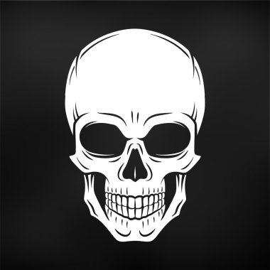 Human evil skull vector. Jolly Roger logo template on black background. death t-shirt design. Pirate insignia concept. Poison icon illustration