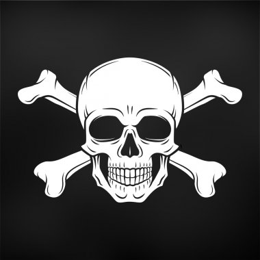 Human evil skull vector. Jolly Roger with crossbones logo template. death t-shirt design on black background. Pirate insignia concept. Poison icon illustration.