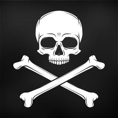 Human evil skull vector on black background. Pirate flag concept design. Jolly Roger with crossbones logo template. death t-shirt concept. Poison icon illustration