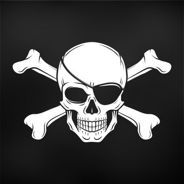Jolly Roger with eyepatch and crossbones logo template. Evil skull vector. Dark t-shirt design. Pirate icon on black background