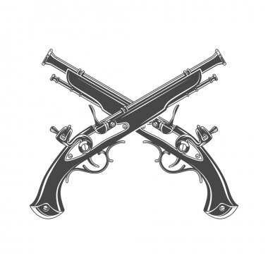 Firelock musket vector. Armoury logo template. Victorian t-shirt design. Steampunk pistol insignia concept.