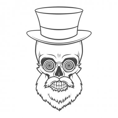 Bearded skull with hypnotic grasses and top hat. Crazy steampunk professor portrait. Dead victorian doctor vintage logo