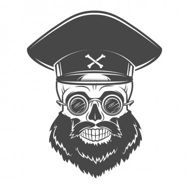 Bearded Skull with Captain cap and goggles. Dead crazy tyrant logo concept. Vector dictator t-shirt illustration