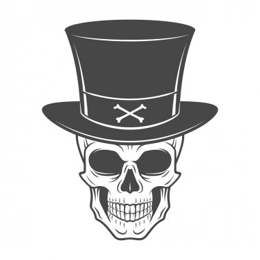 Steampunk skeleton with high hat. Smiling victorian bandit logo template. Wanted die or alive portrait. High way man t-shirt design