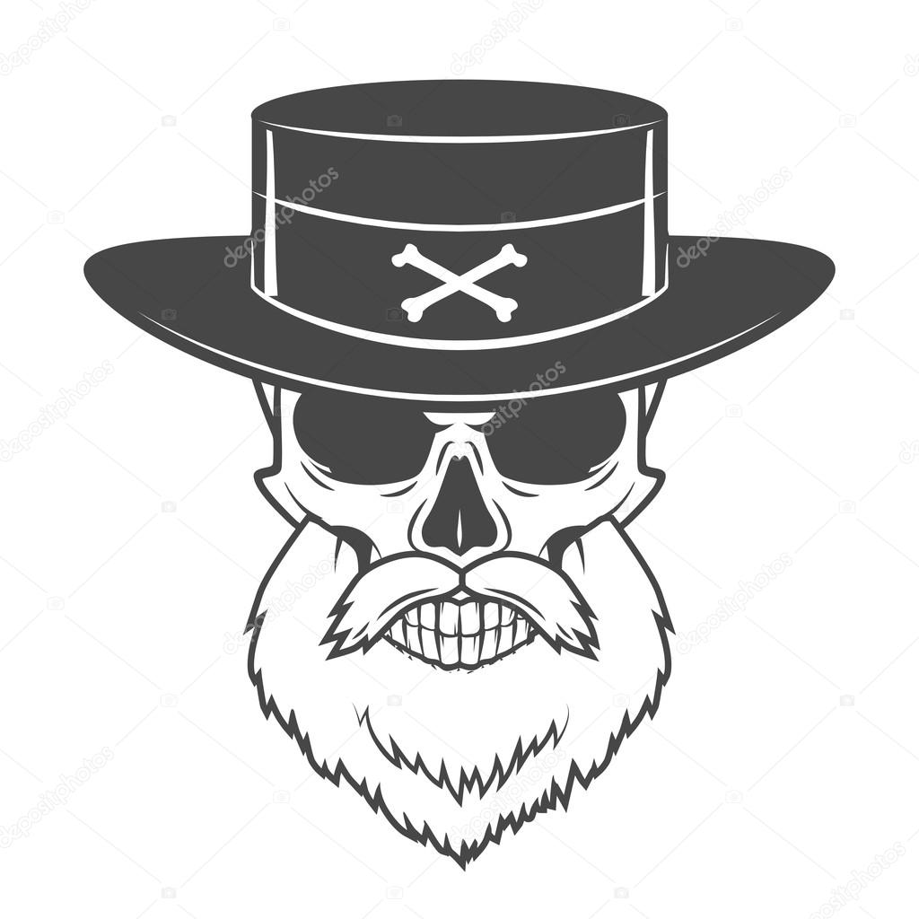 Head hunter skull with beard and hat vector. Rover logo template ...