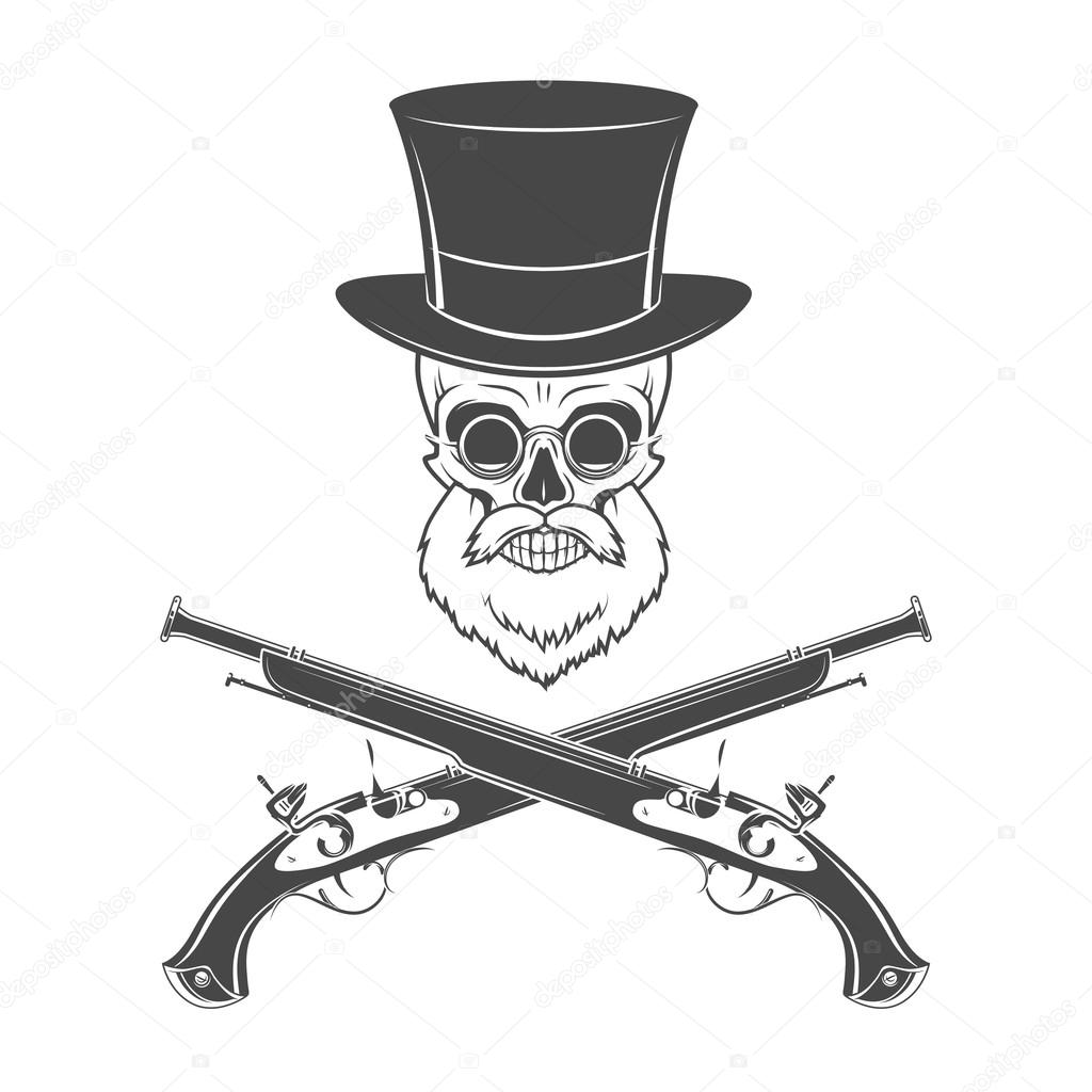 gentleman of fortune skeleton with beard glasses top hat and flint