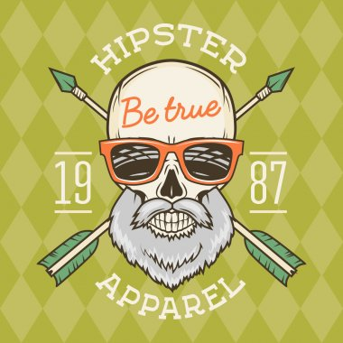 Vintage True bearded Hipster skull vector with geek sunglasses and crossed arrows. Crazy deadman insignia template. Smiling skeleton badge design. Apparel shop logo label.