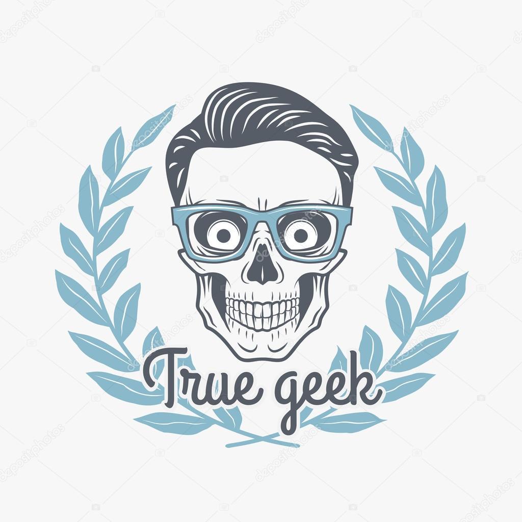 Echter Geek Schädel Vektor mit Hipster Gläser und Lorbeer Blätter ...