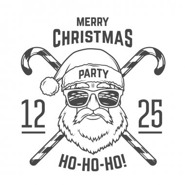 Santa Claus with hipster glasses and candy cones print design. Vintage disco insignia. Christmas old man portrait. Rock and roll logo. New year t-shirt illustration.