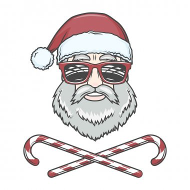 Santa Claus biker with candy cones and hipster glasses print design. Vintage disco man Christmas logo insignia. Rock and roll new year t-shirt illustration