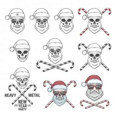 Big set of Santa Claus skulls with candy cones and glasses. New year logo insignia design elements. Vintage Heavy metal party Christmas badge collection. Rock and roll noel t-shirt illustration.