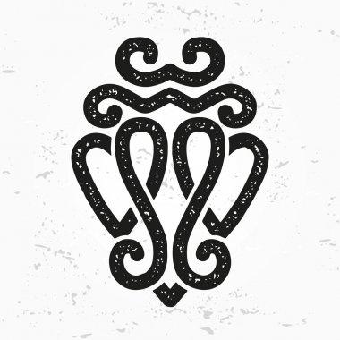 Luckenbooth brooch vector design element. Vintage Scottish two heart shape symbol logo concept. Valentine day or wedding illustration on grunge background.