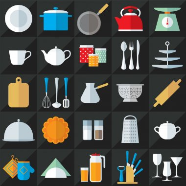 Kitchenware flat icons vector set