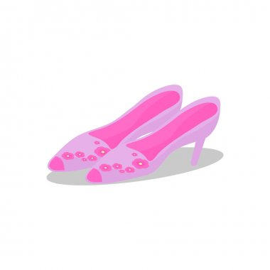 Pink shoes. Sandals with flower decoration. Cartoon flat style. icon