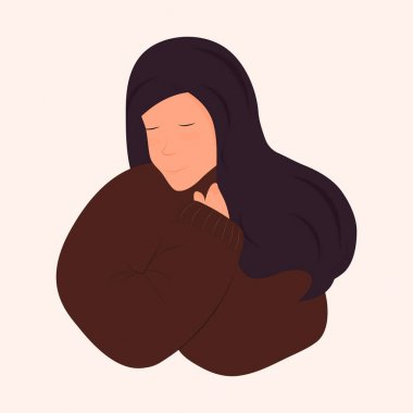 Cute dark-haired girl in a brown sweater hugs herself. The concept of peace, harmony, self-love, self-acceptance. Vector. Flat cartoon style. Isolated on white background icon