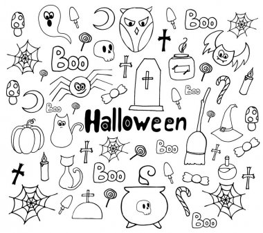 Set of decor elements for the celebration of Halloween. Vector. Drawn by hand. Black and white. Decor Elements. Holiday decoration. icon