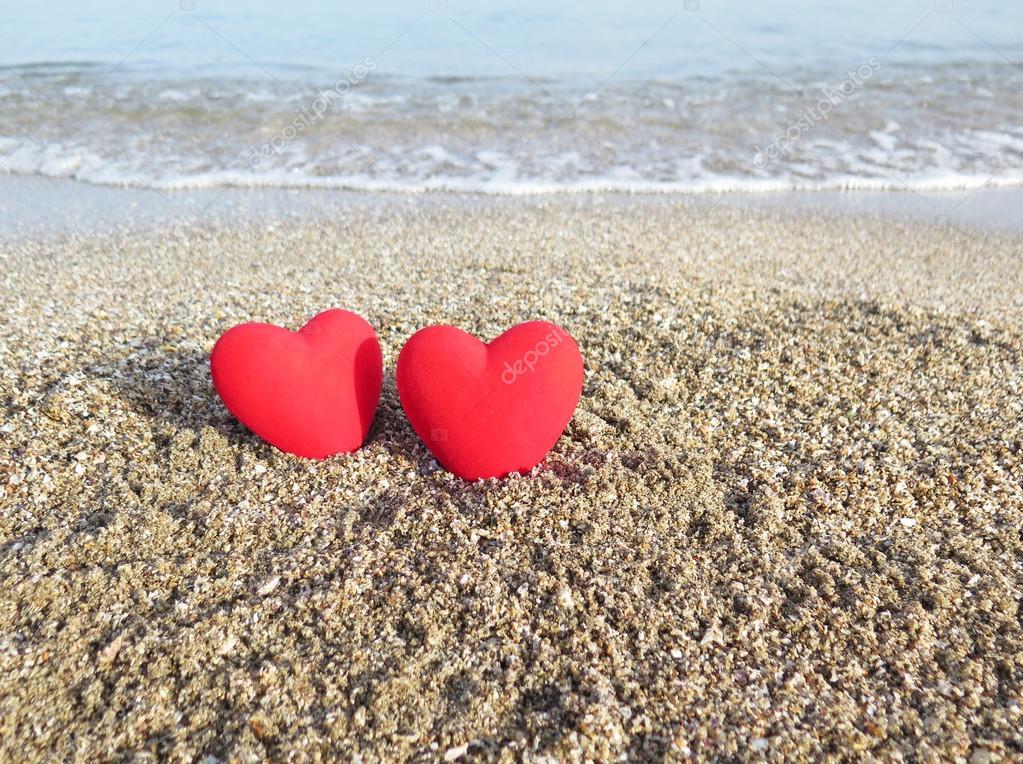 Happy Valentine S Day Heart On The Beach Stock Photo C Mamapolina