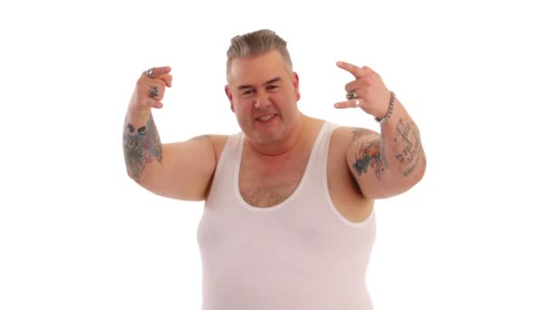 Tattooed man poses